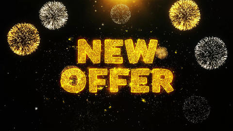 New Offer Text on Firework Display Explosion Particles Footage