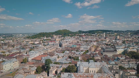Aerial City Lviv, Ukraine. European City. Central part of old european city Live Action