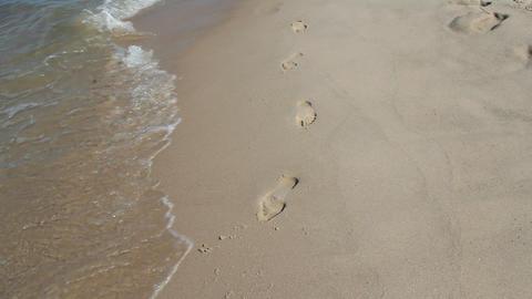 Man walking on sandy beach. Waves of Baltic sea. Somebody walking along seaside Live Action