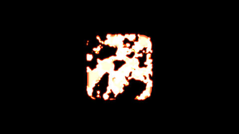 Symbol dice four burns out of transparency, then burns again. Alpha channel Premultiplied - Matted Animation