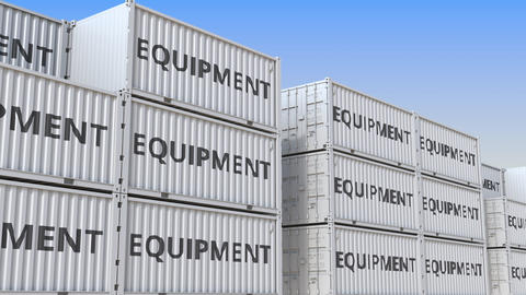 Container yard full of containers with equipment. Production, export or import Live Action