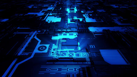 3D Blue Sci-Fi Mother Board Circuits Intro Logo Background Animation