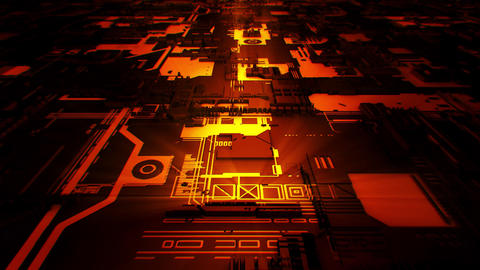 3D Orange Sci-Fi Mother Board Circuits Intro Logo Background Animation