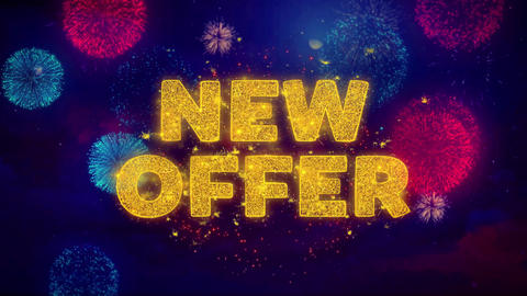 New Offer Text on Colorful Ftirework Explosion Particles Live Action
