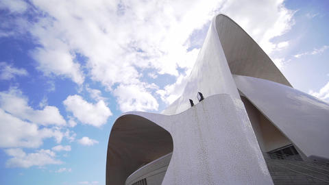 Modern urban building - Auditorio de Tenerife. Canary Islands Culture, Spain Live Action