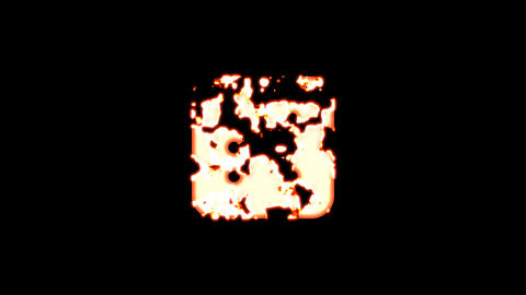 Symbol dice six burns out of transparency, then burns again. Alpha channel Premultiplied - Matted Animation