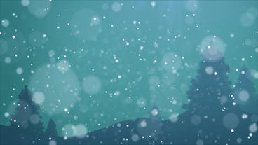 Night Scene Snow fall loop animation design element with blue background and tre After Effects Project