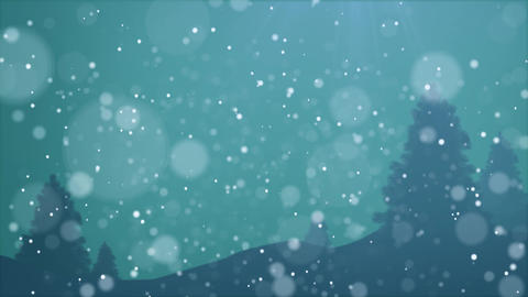 Night Scene Snow fall loop animation design element with blue background and tre After Effects Template