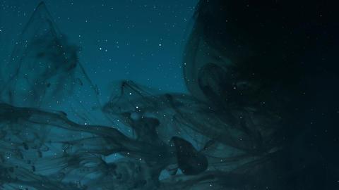 Skyscape at night with a strange black smoke darkening the starry sky Footage