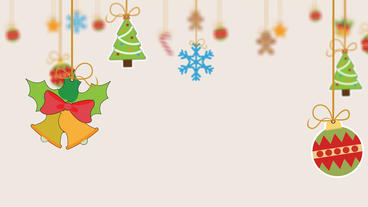 Different Christmas items hanging with string a greeting animation After Effects Project