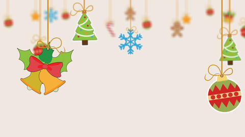 Different Christmas items hanging with string a greeting animation After Effects Template