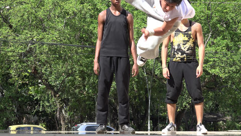 Break Dancing Acrobatics And Parkour Footage