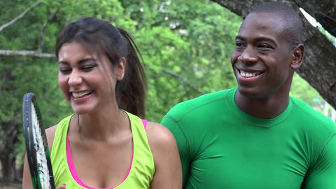 Athletic Man And Woman Laughing Footage