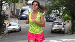 Young Female Jogger Running Footage