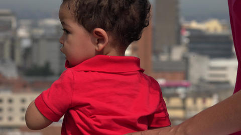 Baby Boy Wearing Red Shirt Outdoors Live Action