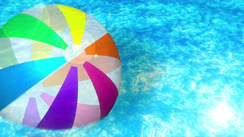 swim in a swimming pool, beach ball, loop, cg Animation