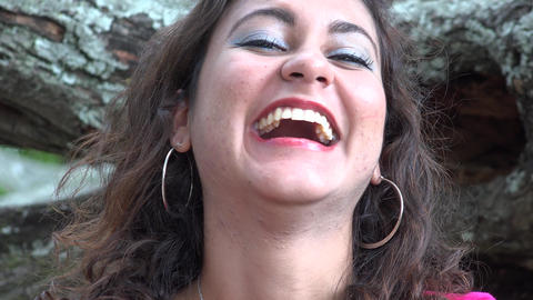 Happy Hispanic Woman Laughing Footage