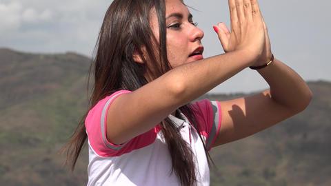 Woman Meditating With Yoga Pose Footage