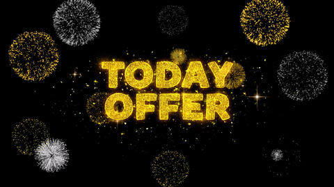 Today Offer Text Reveal on Glitter Golden Particles Firework Footage