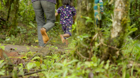 Barefoot Legs Running On A Rural Path Somewhere In A Tropical Rainforest Live Action