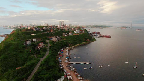 Aerial view of the cityscape overlooking the Egersheld district. Seascape with boats and the city. Footage