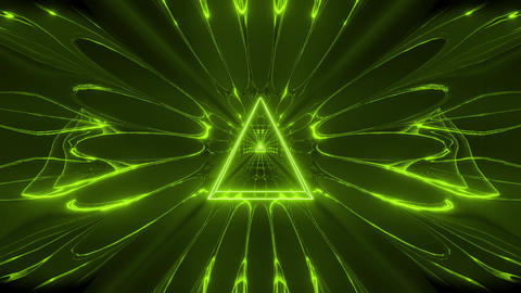 green glowing fantasy triangle wireframe design with reflective background Animation