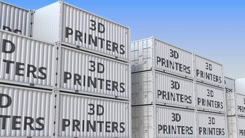 Container terminal full of containers with 3D printers. Production, export or Live Action