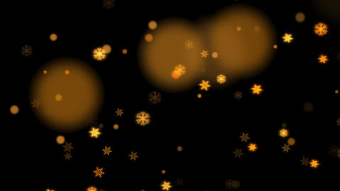 Christmas motion background with glowing gold snow flakes on black background CG動画