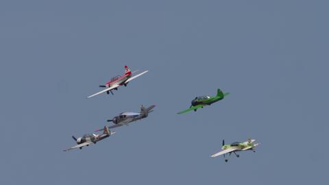 Sport planes performance group aerobatic flight Live Action