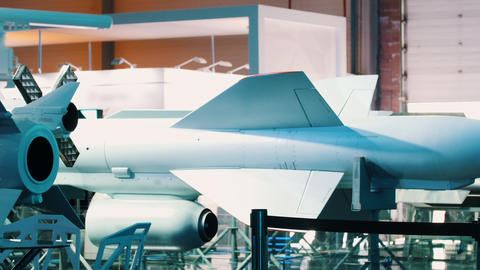 An aircraft factory - carcase and parts of the aircraft Footage