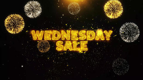 Wednesday Sale Text on Firework Display Explosion Particles Live Action