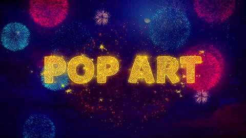 Pop Art Text on Colorful Ftirework Explosion Particles Footage