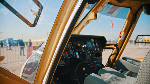 29 AUGUST 2019 MOSCOW, RUSSIA: A inside view of the dashboard in helicopter Live Action
