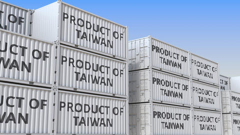 Containers with PRODUCT OF TAIWAN text in a container terminal, loopable 3D Live Action