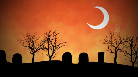 Halloween background animation with the ghosts in cemetery CG動画