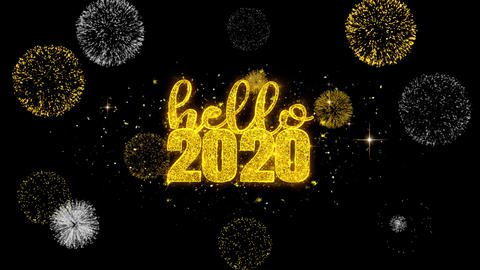Hello 2020 New Year Text Wish Reveal on Glitter Golden Particles Firework Footage
