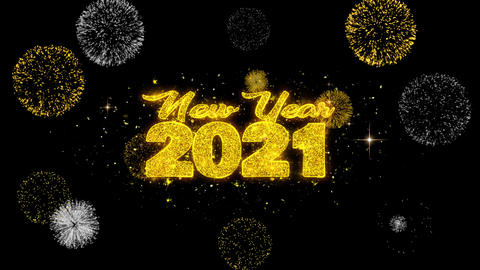 New Year 2021 Text Wish Reveal on Glitter Golden Particles Firework Footage