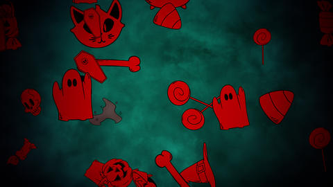 Halloween background animation with the pumpkins, skulls, coffins, ghosts Animation