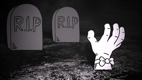 Halloween background animation with the hand in cemetery Animation