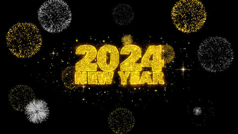 2024 New Year Text Wish Reveal on Glitter Golden Particles Firework Live Action