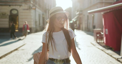 Attractive young woman traveling in Europe and exploring beautiful sightseeing Footage