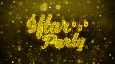 Iftar Party Wish Text on Golden Glitter Shine Particles Animation Live Action