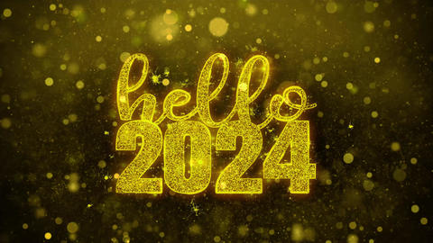 Hello 2024 Wish Text on Golden Glitter Shine Particles Animation Footage