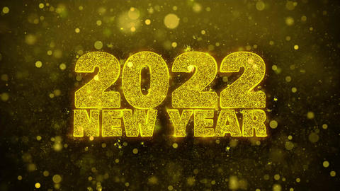 2022 New Year Wish Text on Golden Glitter Shine Particles Animation Footage