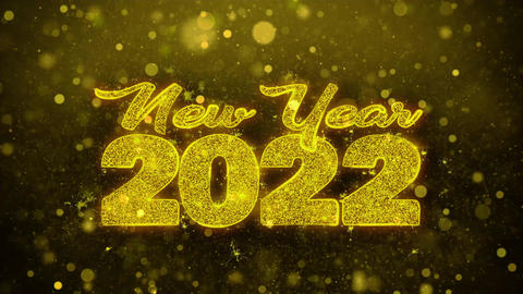New Year 2022 Wish Text on Golden Glitter Shine Particles Animation Footage