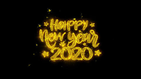 Happy New Year 2020 wish Text Sparks Particles on Black Background Footage