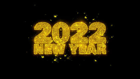 2022 New Year wish Text Sparks Particles on Black Background Footage