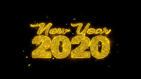 New Year 2020 wish Text Sparks Particles on Black Background Footage