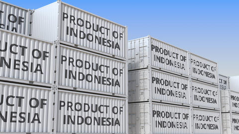 Containers with PRODUCT OF INDONESIA text in a container terminal, loopable 3D Live Action