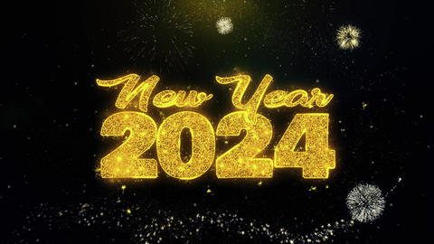 New Year 2024 Text Wish on Gold Particles Fireworks Display Live Action